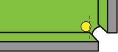 Рис. 1. Шар на борту пересек точку закругления резины