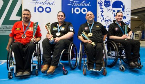 Призеры чемпионата мира-2017 (слева направо: Деклерк, Динсмор, Кимберли, Ли)